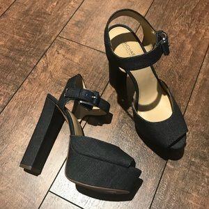 NWT Michael Kors denim platform heeled sandals